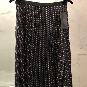 Zara chic geometric pleated midi skirt L NWT